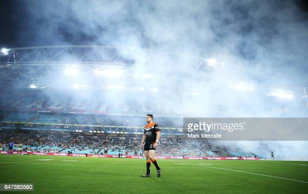 Chris Lawrence of the Tigers looks on during the round one NRL match between the South Sydney Rabbitohs and the Wests Tigers at ANZ Stadium on March...