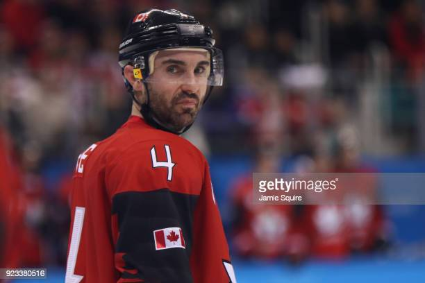 Chris Lee of Canada looks on during the game against Germany during the Men's Playoffs Semifinals on day fourteen of the PyeongChang 2018 Winter...