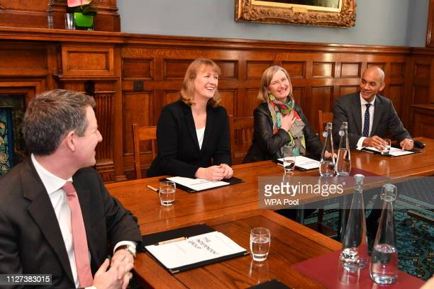 Chris Leslie Joan Ryan Sarah Wollaston and Chuka Umunna of the independent group of MPs hold their inaugural meeting at Institute of civil engineers...