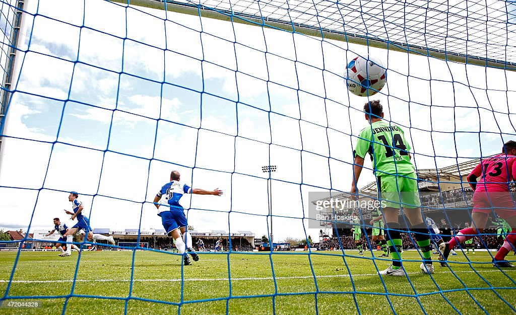 Chris Lines of Bristol celebrates after scoring the opening goal of the game during the Vanarama Football Conference League Play Off Semi Final Second Leg between Bristol Rovers and Forest Green Rovers at Memorial Stadium on May 3, 2015 in Bristol, England.