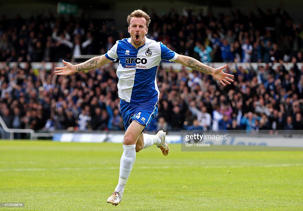 Chris Lines of Bristol celebrates scoring the opening goal of the game during the Vanarama Football Conference League Play Off Semi Final Second Leg between Bristol Rovers and Forest Green Rovers at Memorial Stadium on May 3, 2015 in Bristol, England.