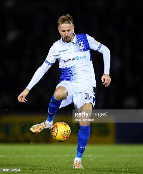 Chris Lines of Bristol Rovers controls the ball during the Sky Bet League One match between Bristol Rovers and Gillingham at the Memorial Stadium on...