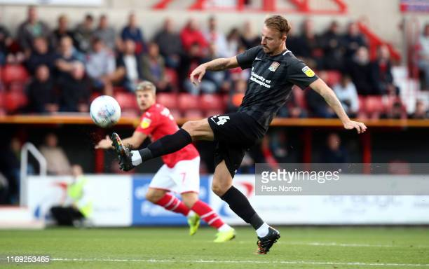 Chris Lines of Northampton Town in action during the Sky Bet League Two match between Swindon Town and Northampton Town at The County Ground on...
