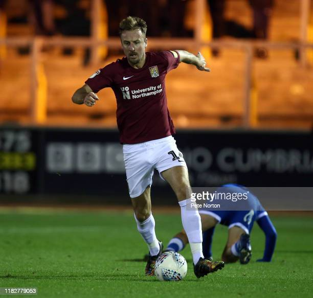 Chris Lines of Northampton Town moves forward with the ball during the Sky Bet League Two match between Carlisle United and Northampton Town at...