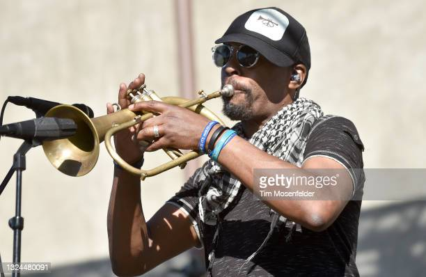Chris Littlefield of Karl Denson's Tiny Universe performs at Charles Krug Winery on June 19, 2021 in St Helena, California.