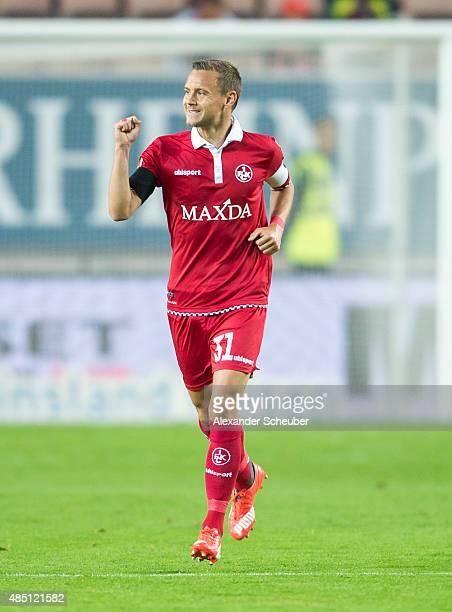 Chris Loewe of 1 FC Kaiserslautern celebrates scoring his team's first goal during the second Bundesliga match between 1 FC Kaiserslautern and SC...