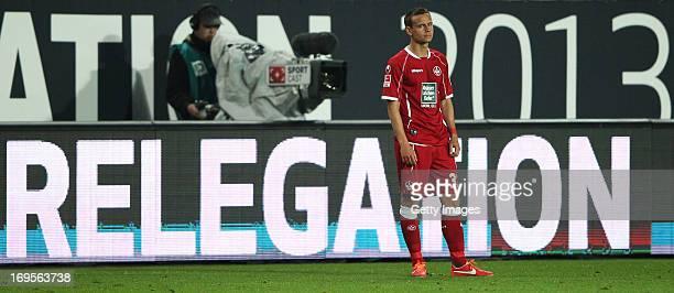 Chris Loewe of Kaiserslautern reacts during the Bundesliga Playoff Second Leg match between 1 FC Kaiserslautern and 1899 Hoffenheim at...