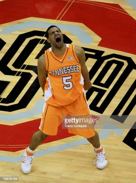 Chris Lofton of the Tennessee Volunteers celebrates their victory over the Virginia Cavaliers during the second round of the NCAA Men's Basketball...