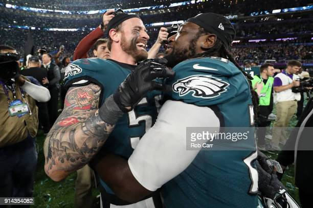 Chris Long and LeGarrette Blount of the Philadelphia Eagles celebrate their teams 4133 victory over the New England Patriots in Super Bowl LII at US...