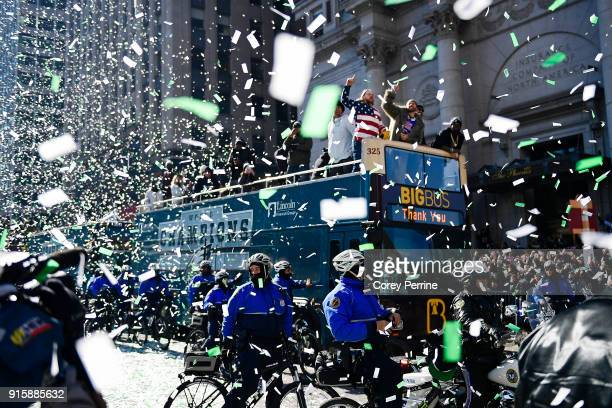 Chris Long lets out a yell on a parade vehicle next to Beau Allen of the Philadelphia Eagles during festivities on February 8, 2018 in Philadelphia,...
