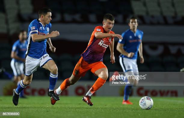 Chris Long of Northampton Town moves forward with the ball during the Sky Bet League One match between Rochdale and Northampton Town at Spotland...