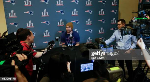 Chris Long of the New England Patriots answers questions during Super Bowl LI media availability at the JW Marriott on January 31 2017 in Houston...