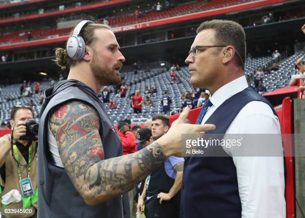 Chris Long of the New England Patriots speaks to father Howie Long before Super Bowl 51 against the Atlanta Falcons at NRG Stadium on February 5 2017...