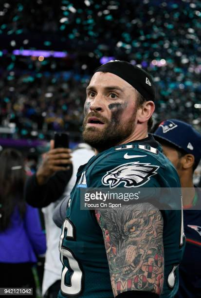 Chris Long of the Philadelphia Eagles celebrates after defeating the New England Patriots in Super Bowl LII at US Bank Stadium on February 4 2018 in...