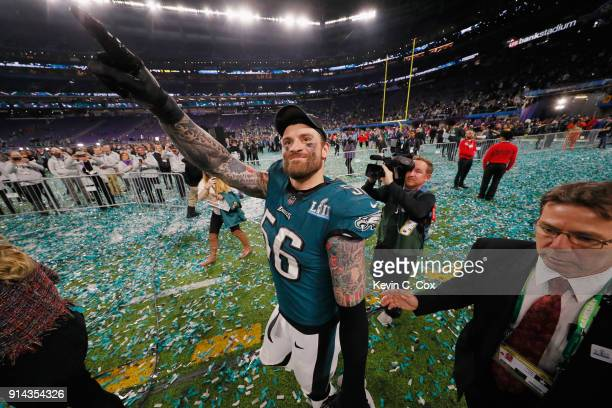 Chris Long of the Philadelphia Eagles celebrates his teams 41-33 victory over the New England Patriots in Super Bowl LII at U.S. Bank Stadium on...