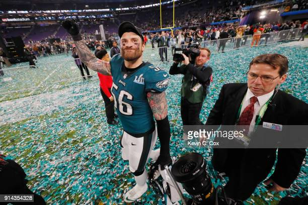 Chris Long of the Philadelphia Eagles celebrates his teams 4133 victory over the New England Patriots in Super Bowl LII at US Bank Stadium on...