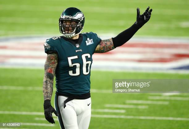Chris Long of the Philadelphia Eagles gestures on the field against the Philadelphia Eagles during the first quarter in Super Bowl LII at US Bank...