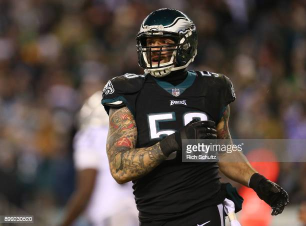 Chris Long of the Philadelphia Eagles in action against the Oakland Raiders during a game at Lincoln Financial Field on December 25 2017 in...