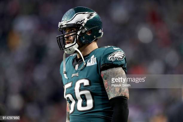 Chris Long of the Philadelphia Eagles looks on prior to Super Bowl LII against the New England Patriots at US Bank Stadium on February 4 2018 in...