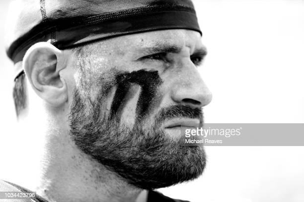 Chris Long of the Philadelphia Eagles looks on prior to the game against the Tampa Bay Buccaneers at Raymond James Stadium on September 16 2018 in...
