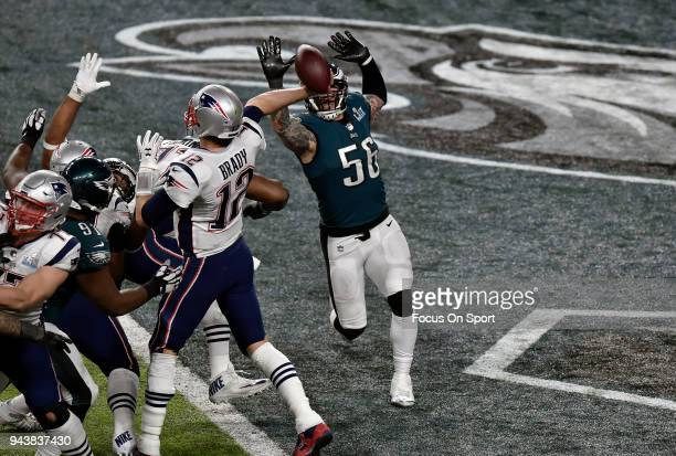 Chris Long of the Philadelphia Eagles puts pressure on Tom Brady of the New England Patriots during Super Bowl LII at US Bank Stadium on February 4...