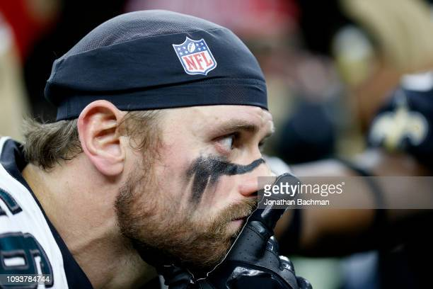 Chris Long of the Philadelphia Eagles reacts after his teams loss to the New Orleans Saints in the NFC Divisional Playoff Game at Mercedes Benz...