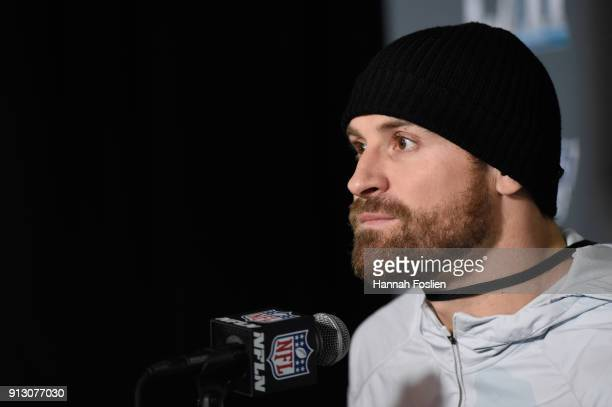Chris Long of the Philadelphia Eagles speaks to the media during Super Bowl LII media availability on February 1 2018 at Mall of America in...