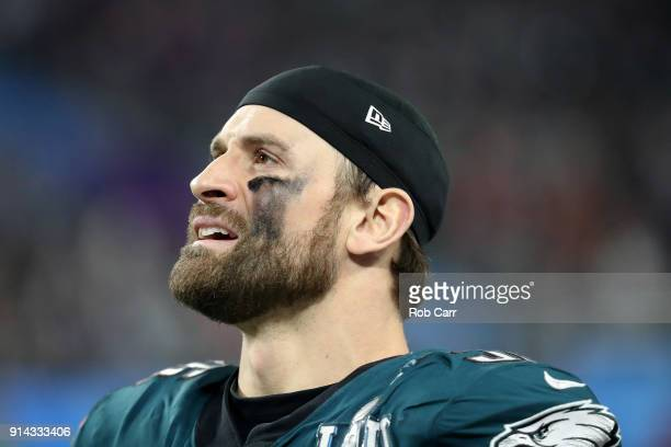 Chris Long of the Philadelphia Eagles waits as a touchdown pass to Corey Clement is reviewed during the third quarter against the New England...