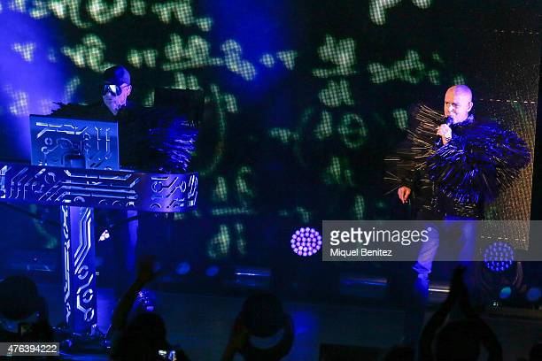 Chris Lowe and Neil Tennant of Pet Shop Boys perform on stage during the third 'Festival Jardins de Pedralbes' on June 8 2015 in Barcelona Spain