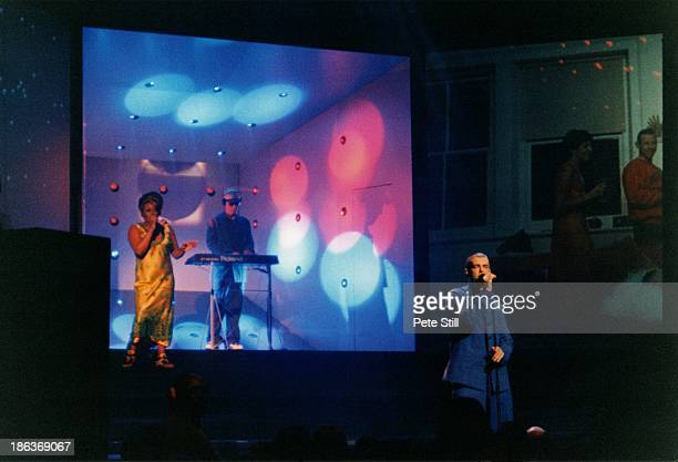 Chris Lowe and Neil Tennant of The Pet Shop Boys perform their 'Somewhere' show on stage at The Savoy Theatre on June 10th 1997 in London England