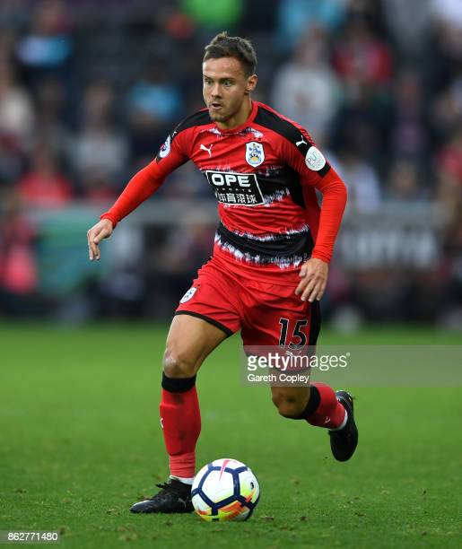 Chris Lowe of Huddersfield during the Premier League match between Swansea City and Huddersfield Town at Liberty Stadium on October 14 2017 in...