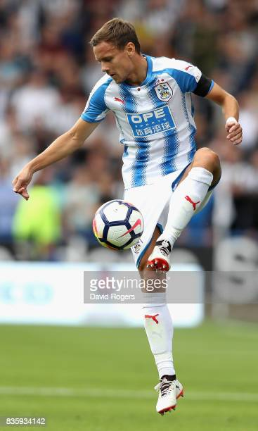 Chris Lowe of Huddersfield Town controls the ball during the Premier League match between Huddersfield Town and Newcastle United at John Smith's...