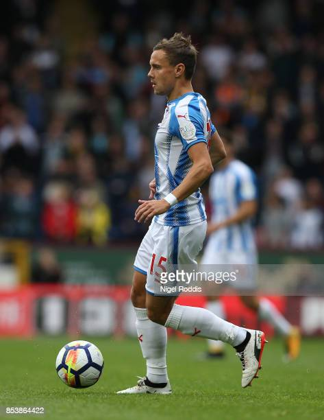 Chris Lowe of Huddersfield Town during the Premier League match between Burnley and Huddersfield Town at Turf Moor on September 23 2017 in Burnley...