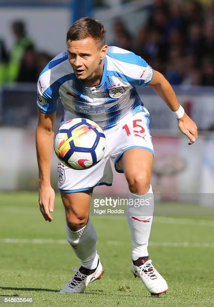 Chris Lowe of Huddersfield Town during the Premier League match between Huddersfield Town and Leicester City at John Smith's Stadium on September 16...