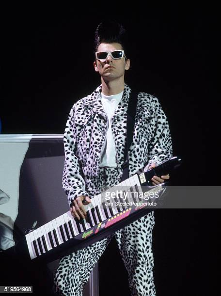 Chris Lowe of the Pet Shop Boys performing on stage at the Wembley Arena in London on the 9th June 1991