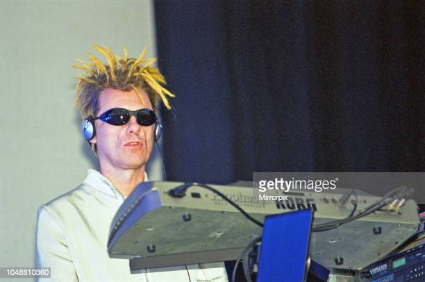 Chris Lowe of the Pet Shop Boys seen here performing on the pyramid stage at Glastonbury 24th June 2000.