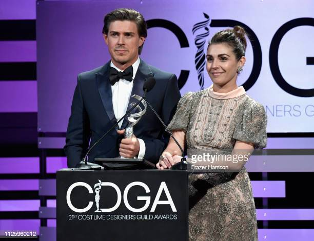 Chris Lowell and Lili Mirojnick speak onstage during The 21st CDGA at The Beverly Hilton Hotel on February 19 2019 in Beverly Hills California