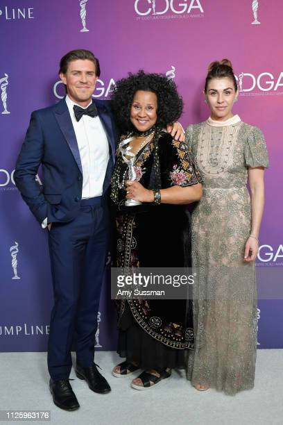 Chris Lowell Sharen Davis winner of the Excellence in SciFi / Fantasy Television award for 'Westworld' and Lili Mirojnick attend The 21st CDGA at The...