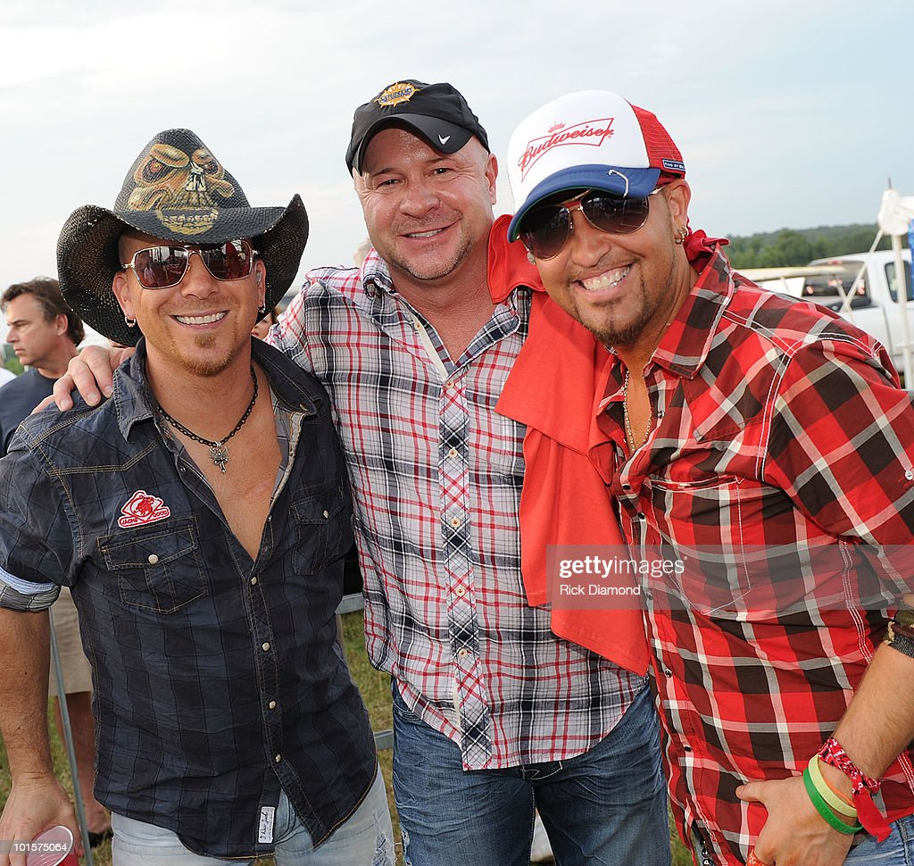 Chris Lucas and Preston Brust of LoCash Cowboys with Ronnie Gilley, Producer of BamaJam at a VIP welcome event prior to the 2010 BamaJam Music & Arts Festival at the Corner of Hwy 167 and County Road 156 on June 2, 2010 in Enterprise, Alabama.