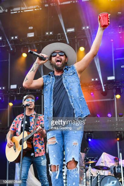 Chris Lucas and Preston Brust of LOCASH perform at Michigan International Speedway on July 21 2018 in Brooklyn Michigan