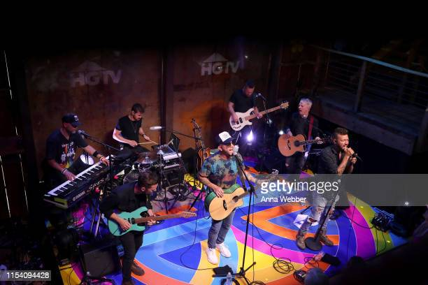Chris Lucas and Preston Brust of LOCASH perform onstage in the HGTV Lodge at CMA Music Fest on June 06 2019 in Nashville Tennessee