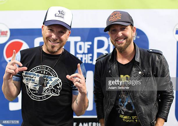 Chris Lucas and Preston Brust of the band LoCash pose for the camera after performing at Mall of America on Aug 5 2015 in Bloomington Minnesota