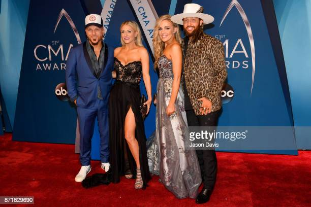 Chris Lucas Kaitlyn Lucas Kristen White and Preston Brust attend the 51st annual CMA Awards at the Bridgestone Arena on November 8 2017 in Nashville...