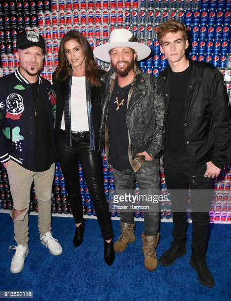 Chris Lucas of LOCASH Cindy Crawford Preston Brust of LOCASH and Presley Gerber at Pepsi Generations Live PopUp on February 2 2018 in Minneapolis...