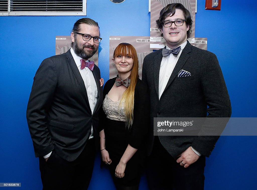 Chris Lueck, Briana Lynch and Jason Murray attend 'Phalaris's Bull: Solving The Riddle Of The Great Big World' opening night at Beckett Theatre on December 17, 2015 in New York City.