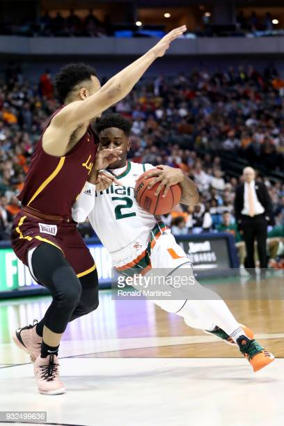 Chris Lykes of the Miami Hurricanes drives againt the Loyola Ramblers in the first half in the first round of the 2018 NCAA Men's Basketball...