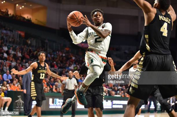Chris Lykes of the Miami Hurricanes drives to the basket during the second half of the game against the Wake Forest Demon Deacons at The Watsco...