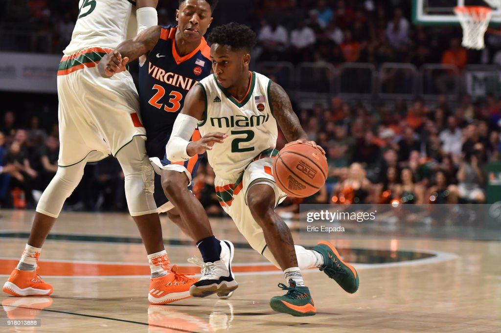 Chris Lykes #2 of the Miami Hurricanes drives to the basket during the second half of the game at The Watsco Center on February 13, 2018 in Miami, Florida.
