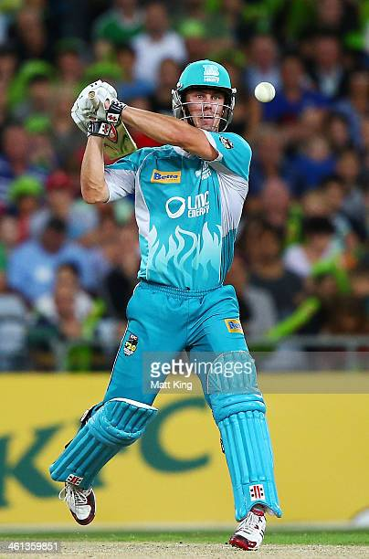 Chris Lyn of the Heat plays a pull shot during the Big Bash League match between Sydney Thunder and Brisbane Heat at ANZ Stadium on January 8 2014 in...