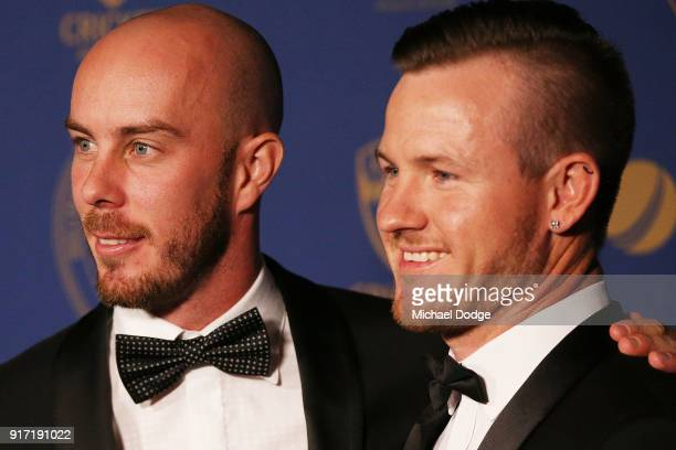 Chris Lynn and D'Arcy Short pose at the 2018 Allan Border Medal at Crown Palladium on February 12 2018 in Melbourne Australia